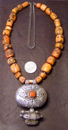ANTIQUE+TIBETAN+CORAL+PRAYER+BEADS+AND+SILVER+GAU+BOX/PENDANT+#Pendant