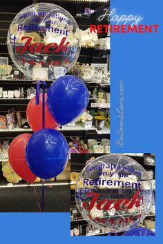 Clear Personalized Happy Retirement bubble balloons in red and blue latex balloons deliver in Brooklyn, Staten Island, NYC NY Order Balloons, Tulle Balloons, Balloons Online, Printed Balloons, Latex Balloons, Big Round Balloons, Light Up Balloons, Clear Balloons, Balloon Lights