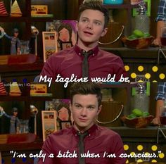 What Chris' Real Housewives tagline would be. Glee Cast, It Cast, Chris Colfer Books, Drake And Josh, Darren Criss, Why People, Real Housewives, Getting To Know You, Tv Videos