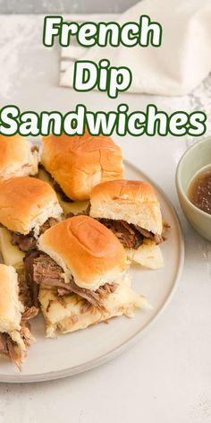 These mini French Dip sandwiches are one of the easiest meals to make! Your crockpot will do most of the cooking and it will leave you with tender and flavorful beef and a tasty sauce to go with it! These slider sandwiches are fun for parties but also make a simple weeknight family meal! Slider Sandwiches, Turkey Sandwiches, Sliders, Slow Cooker Italian Beef, Slow Cooker Beef, Easy Meals For Kids, Easy Food To Make, Beef Recipes, Cooking Recipes