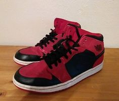 Nike Air Jordan 1 Retro Mid Size 12 Black Gym Red White Bulls 554724-005