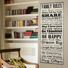 Family Rules Wall Canvas is the perfect for the entryway, kitchen or living room. A modern twist for wall décor, large canvas wall decor has instant impact and can be hung with no nails! more »  $40.00 | Lot 26 Studio, Inc.