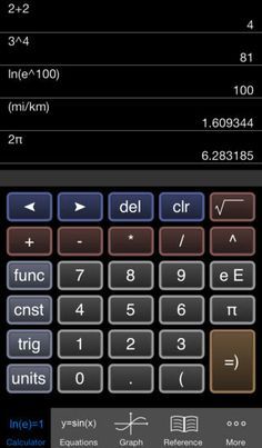 [Free] Free Graphing Calculator at https://itunes.apple.com/us/app/free-graphing-calculator/id378009553?mt=8 Scientific calculator, graphing abilities, unit conversion, pre-programmed constants, and formula library.