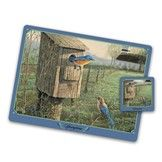 The Songbirds Placemat and Coaster Set - Bluebird