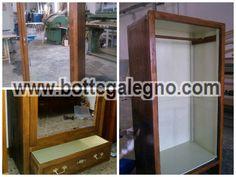Armadio del 1900 restaurato con interno e cassetto foderati con carta per mobili, anta con specchio originale, ferramenta restaurata.