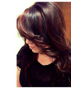 brown hair with purple peek a boo highlights | Portfolio | Maria Olmos
