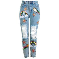 Destroyed Mom Jeans With Sequin Rainbow Patches by Kuccia (550 GTQ) ❤ liked on Polyvore featuring jeans, star print jeans, patch jeans, distressed jeans, rainbow jeans and star jeans