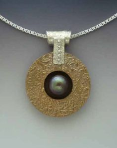 Bronze, Silver & Pearl Pendant from Metal Clay Fusion by Gordon Uyehara