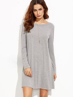 Dresses by BORNTOWEAR. Heather Grey V Back Tee Dress
