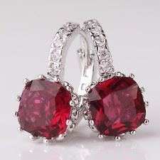 18K white gold filled Classic royal garnet brilliant party hoop earring