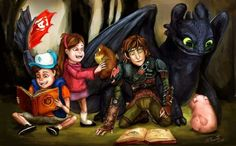 Hiccup and Toothless with Gravity Falls ^_^ ^.^ ♡ I give good credit to whoever made this