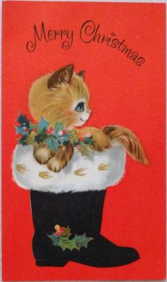 #1771 60s Cute Kitty Cat in Santa's Boot- Vintage Christmas Card-Greeting