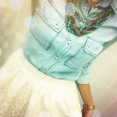 chambray shirt + lace skirt+turquoise jewelery