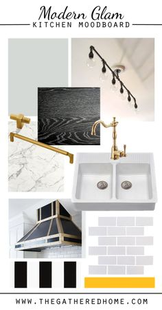 A modern glam kitchen moodboard - all sources in the post. #kitchen #inspiration