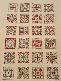 Quilts and Siggies Cross Stitch Sampler Patterns, Cross Stitch Freebies, Cross Stitch Samplers, Cross Stitch Designs, Fair Isle Knitting, Hand Knitting, Bohemian Rug, Quilts, Embroidery