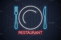 Plate with fork and knife neon sign. Restaurant neon logo on wall background. When developing design were complied proportion, symmetry, shape, etc. All letters Knife Logo, Psychadelic Art, Wall Logo, Restaurant Logo Design, Neon Logo, Creative Logo, Logo Templates, Icon Set, Graphic Illustration