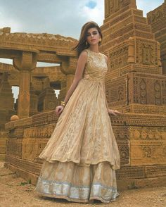 Tena Duranni First Look: Subtle Romance. Agra from Palace Walk: Imperial 2016 now available in-store and online. Order in time for Eid! Beautiful Pakistani Dresses, Pakistani Formal Dresses, Pakistani Dress Design, Pakistani Outfits, Indian Dresses, Indian Outfits, Beautiful Dresses, Indian Attire, Pakistani Couture