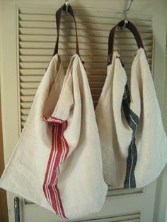 linen; Transylvanian handwoven towel bags