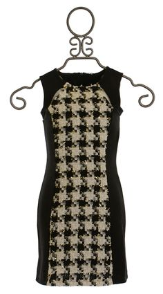 Elisa B Houndstooth Dress Black and White