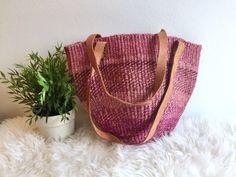 Pink Sisal Market Bag / Boho Woven Market Bag w Leather Handles / Leather Straps Pink Bucket Bag / Pink Jute Handbag / Sisal Market Shopper by ShopRachaels on Etsy https://www.etsy.com/listing/494479015/pink-sisal-market-bag-boho-woven-market