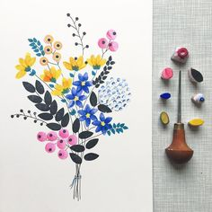 When I come back I want to change a lot of things with my shop. No more making prints when they are ordered. But a small edition of each print. I want to focus more on one of a kind pieces also like this. Would you guys like to see more bouquets like th Art Floral, Motif Floral, Watercolor Cards, Watercolor Flowers, Watercolor Paintings, Watercolors, Illustration Blume, Stamp Carving, Creation Deco