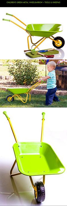 Children's Green Metal Wheelbarrow + Tools & KneePad #plans #fpv #kit #tech #products #drone #camera #kids #racing #gardening #technology #for #shopping #gadgets #tools #parts