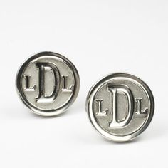 Round Monogram Cuff Links in Sterling Silver by Sorella Jewelry. These are personalized with the initials of your choosing and can also be made in 14k yellow or white Gold, in sterling silver, or in Palladium. | Made on Hatch.co