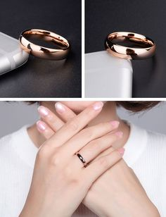 Rose Gold Tungsten Ring for Women, Simple Wedding Bands iDream-Jewelry.Com