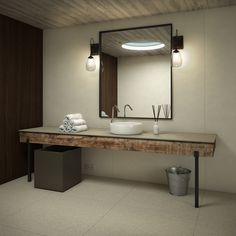 Foster Collection: Porcelain tiles in standard thickness. A natural finish in Blanco, Crema, Piedra, Camel and Negro colours. Bad Inspiration, Bathroom Inspiration, Bathroom Storage, Small Bathroom, Bathrooms, Modern Luxury Bathroom, Lavatory Design, Black Floor, Wood Beams