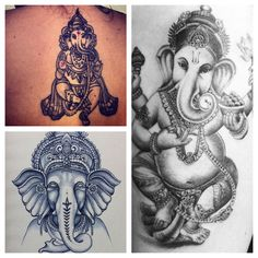 I want a tattoo similar to these on my thigh, as Ganesh and the Hindu culture has been an interest of mine for years, and I hope will continue to be. I love the idea of the black and grey with hints of red.