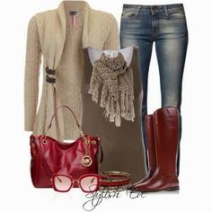 Light brown cardigan, jeans, brown blouse, red long boots and handbag for fall