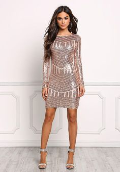 Rose Gold Sequin Open Back Bodycon Dress - New