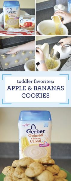 Looking for new ways to serve your toddler the solid foods they love? Check out this nutritious snack, complete with helpful article and this recipe for Apple and Bananas Cookies to get started! Find Gerber® Infant Cereals at Target—just two servings of t Apple Recipes, Baby Food Recipes, Snack Recipes, Food Baby, Detox Recipes, Dog Food, Dinner Recipes, Toddler Meals, Kids Meals