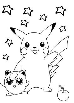 Smiling Pokemon coloring pages for kids, printable free