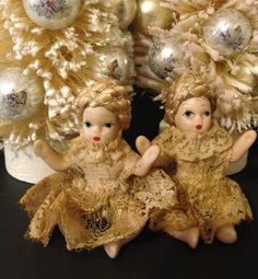 Vintage Christmas Dolls Hand painted Bisque with Vintage Lace Dresses Set of Two  Shabby Holiday Decor by ThePokeyPoodle on Etsy
