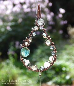 Rain Drops Suncatcher - Patina copper design with agate, kyanite, labradorite, glass, opalite, fluorite and cystal chip beads by Earth Balance Craft.