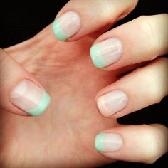 Colored French tips! Gelish. Tiffany blue. Pink.