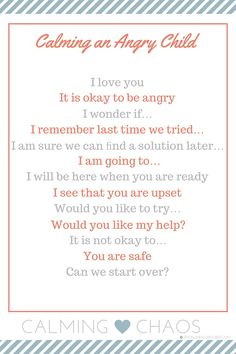 What to Say to Calm an Angry Child