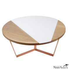 Oak Coffee Table with White Glass Inset- Michele Varian