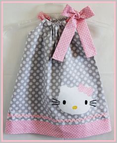 Super Cute Gray And Pink Kitty applique dress on Etsy, $25.00