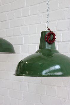 Vintage+Industrial+Green+Enamel+Industrial+Factory+Pendant+Lights Vintage Industrial Lighting, Industrial Pendant Lights, Pendant Lighting, White Enamel, Decorative Bells, Green