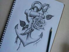 drawing, anchor, and rose Bild