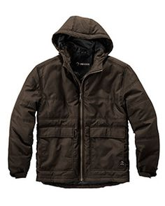 DRI DUCK men's trooper jacket. This jacket is 100% polyester with 2oz. poly fill insulation. This jacket is equipped with therma puff insulated technology designed to trap body heat for added warmth during moderate to high energy activity. This jacket also includes tuff tech abrasion-resistant technology that resists wear and tear. It is also water-resistant, has an adjustable three-piece hood, and double entry patch pockets. This is the ultimate men's outdoor winter jacket!