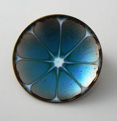 Vintage Hogan Bolas Brooch Pin Blue Enamel by VintageLaneJewelry