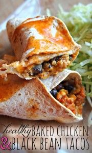 Healthy Baked Chicken and Black Bean Tacos and more healthy black bean recipes on MyNaturalFamily.com #recipes
