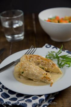 Chicken with Tarragon–Mustard Sauce is a creamy, tangy sauce that comes together in minutes.  Turn plain old chicken into something special even on a busy weeknight!