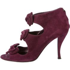 Pre-owned Sergio Rossi Bow Booties (155 CAD) ❤ liked on Polyvore featuring shoes, boots, ankle booties, purple, sergio rossi boots, purple booties, bow boots, sergio rossi and back zip boots