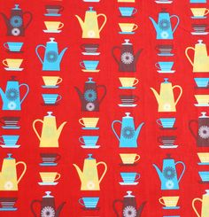 Happy Home – Coffee Pots Red Kitchen Curtains, Bunting, Clothing Patterns, Pots, Textiles, Coffee, Paper, Fabric, Red