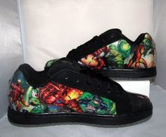Men's Iron Man and Green Lantern DC Skate Shoes  by custombykylee, $120.00