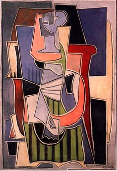 Pablo Picasso, Woman sitting in an armchair, 1920. I chose this cubist, colourful, abstract approach to the human form.